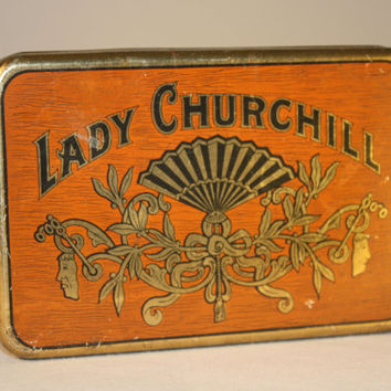 Lady Churchill Vintage Tabaco Tin, Collectible Tin, Vintage Small Storage Box, Cigar Box, Pocket Humidor, Soberanos