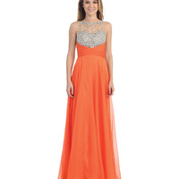 Orange Sheer Sequin Bodice Empire Waist Dress 2015 Prom Dresses
