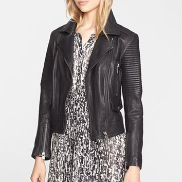 Women's Burberry Brit 'Edgewick' Lambskin Leather Moto Jacket,