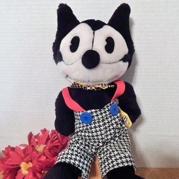 "Felix the Cat Stuffed Plush Animal 16"" Black and White Cartoon Cat Toy Vintage 1989 Applause Collectible Comic Strip Cat Free Shipping"