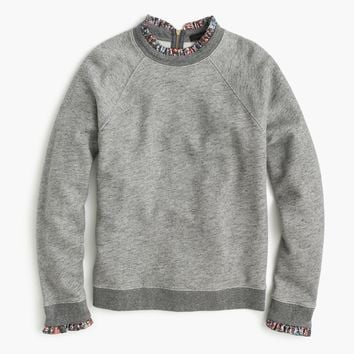 Metallic ruffle-neck sweatshirt : Women sweatshirts | J.Crew