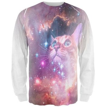 CREYCY8 Galaxy Cat All Over Adult Long Sleeve T-Shirt