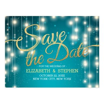 Turquoise String Lights Gold Script Save the Date Postcard