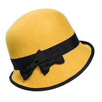 YOUPAI Women's Bowler Cloche Bowknot Felt Fedora Style Hat Classic Vintage Yellow