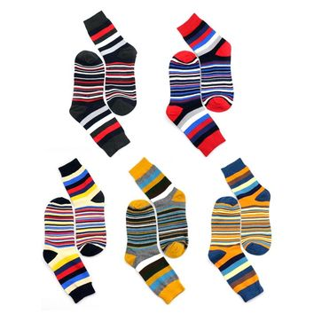 2018 Casual Mens Funny Socks Chromatic Stripe Socks Man Women Unisex Striped Colorful Fashion Designer Style Cotton Happy Socks