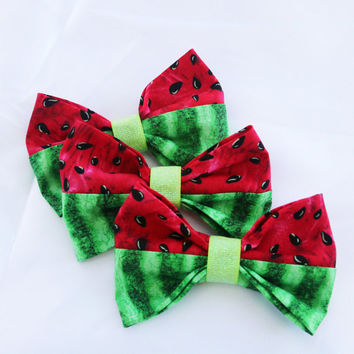 Summer Watermelon Clip-On Bow