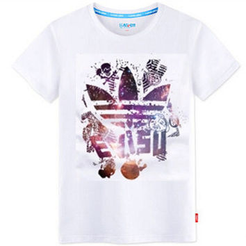 """Adidas"" Unisex Fashion Casual Multicolor Clover Letter Print Round Neck Short Sleeve Loose Cotton T-shirt"