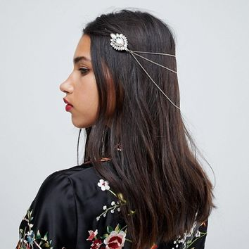 ASOS Embellished Stone Back Hair Chain at asos.com