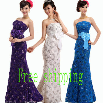 Plus size custom size 2017 summer lace flower trumpet mermaid long design fish tail formal dress  wedding party dress