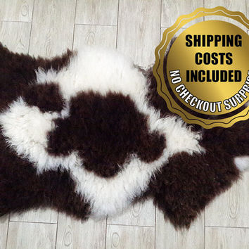 XXXL Genuine White-Brown Sheepskin Rug For Cosy Scandinavian Style Home Decoration // 100%Naturel Very Long Hair Lambskin Pelt Throw Carpet