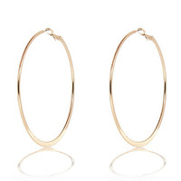 River Island Womens Gold tone medium flat bottom hoop earrings
