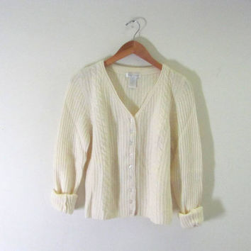 Vintage white lambswool / angora Cardigan Sweater. Pierre Cardin sweater. women's size M