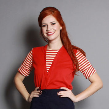 50s RED & WHITE Bad Girl TOP / Nautical Stripes Rockabilly T-Shirt, s
