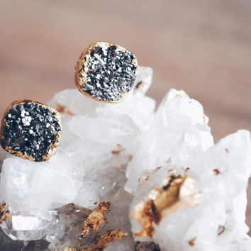 Silver Druzy Stud Earrings, Gold Filled Posts, Gold Druzy Stud Earrings, Gold Leaf Edge Earrings
