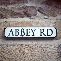 Abbey Road Wooden Street Sign With Vintage Style by UtopiaUF
