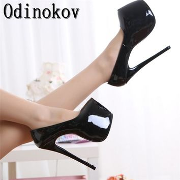 Odinokov Sexy 18 cm Party Shoes Classic Women Platform Pumps Red Bottoms High Heels Evening Wedding  Shoes Woman Pumps