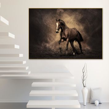 Abstract Painting On Canvas Pictures for Living Room Brown Horse Racing Animals Cuadros Decoracion Salon Wall Art Poster Prints