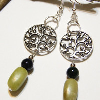 Tree Of Life Earrings - Celtic Earrings - With Green Turquoise Beads