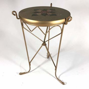 Vintage Style Gold Painted Scrolled Metal End Table