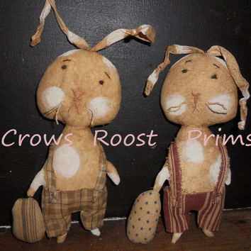Primitive Holiday Easter Rabbit  Howie Hare  doll