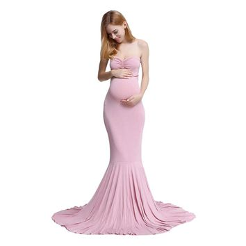2018  Maternity Dress Off Shoulder Sleeveless Maxi Long Elegant Maternity Dress Clothes For Photography Props #5L