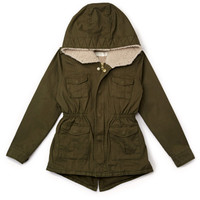 FOREVER 21 GIRLS Hooded Faux Shearling Parka (Kids) Olive X-Small