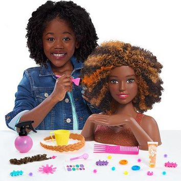African American, Black Curly Hair Styling Cut Color Curl Head and Manicure Nail Doll