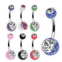 Fashion 1 pcs Steel Shine Rhinestone Belly Navel Bar Ring Barbell Sequins Ball Body Piercing Jewelry Body-0105