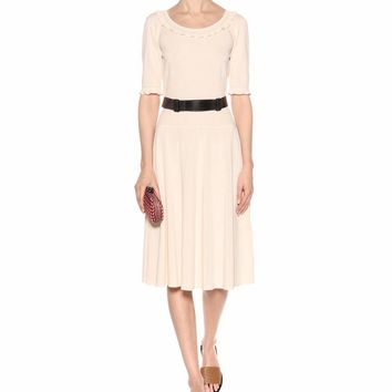 Cotton blend belted dress