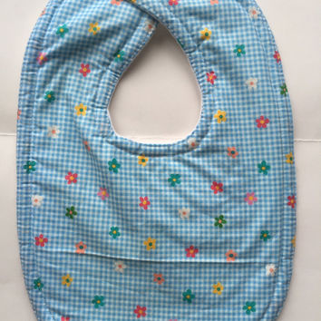 Baby bib baby girl bib blue gingham infant feeding layette flower bib infant girl girl shower drool bib baby accessories children cotton bib