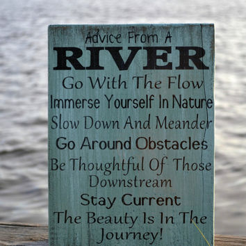 River Home Decor, Advice River Wood Sign, Painted Wood Sign, Home Decor, Wall Hanging, Wooden Sign, Cabin, Cottage