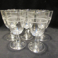 Etched Water Goblets,  Etched Wine Glasses, Barware, Set of 8   (1532)