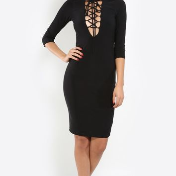 Love Lace Up Sleeve Dress