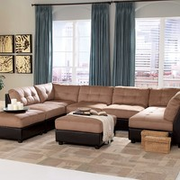 6 pc Claude collection two tone modular sectional sofa with Buff brown microfiber and dark brown vinyl base