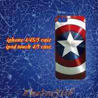 iphone 4 case,iphone 4s case,iphone 5 case,ipod touch 4 case,ipod touch 5 case--Captain America,in plastic and silicone