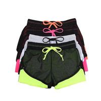 Women Summer Fitness Fold Short Cool Wear Clothing Cotton Mesh Short Workout Two Layer