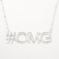 Silver #OMG Pendant Necklace – Claire's