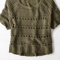 AEO Women's Open Knit Short Sleeve Sweater
