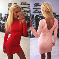 Womens Sexy Long Sleeve Bodycon Party Dress