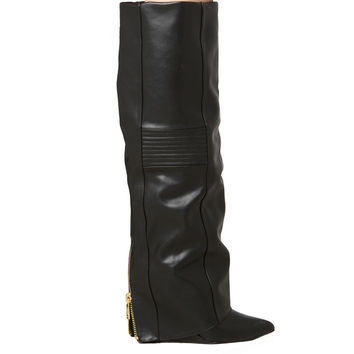 Knee High Foldover Covered Wedge Boots - Black