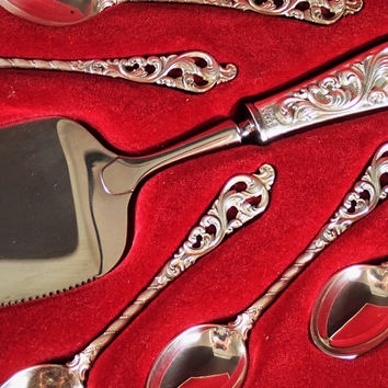 Dobbel Rokokko 830s Silver Demi Spoons and Dessert Server, Vintage Norwegian Silver by Brodrene Lohne in original gift box, wedding gift