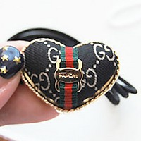 GUCCI love bow simple alloy headband rubber band hair headband Pure black stripes + love