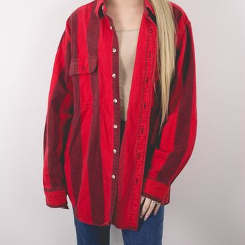 Vintage 80s Red Striped Flannel Shirt