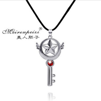 2015 Cardcaptor Sakura Card Captor Star Wand Japanese Anime Cosplay Sliver en Key Pendant Chain Necklace Gifts for girls