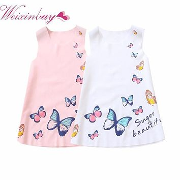 Summer 2-7Y Kids Girls Sleeveless Dress Girls Ice silk Clothes Baby Girl Butterfly Princess Party Dresses White