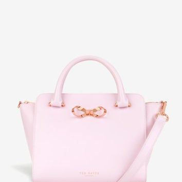 Loop bow leather tote bag - Pale Pink | Bags | Ted Baker