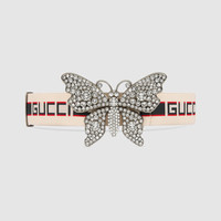Gucci - Gucci stripe belt with butterfly