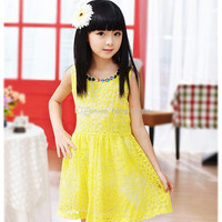 New Children Girls Sleeveless Lace Flower Princess Dress Summer Kids Colorful Gems O-collar Floral Lace TUTU Dress With Zip 4 Pcs/lot