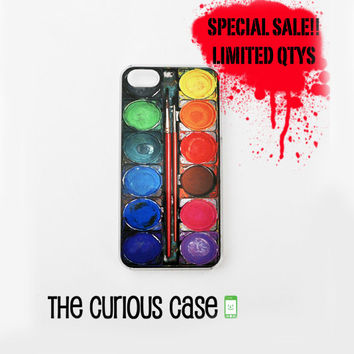 SALE - BLACK FRIDAY iPhone 5/5s Hard Case Clear Plastic Trim | Limited Quantities Watercolor Rainbow Paintset