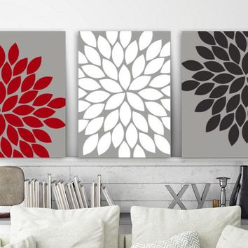 Flower Wall Art, Gray Red Black Bedroom Pictures, CANVAS or Prints, Red Black Bathroom Decor, Flower Burst Petals, Set of 3 Artwork Pictures